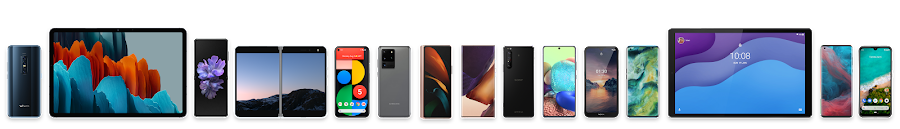 The lineup of Android devices, from smartphones to tablets.