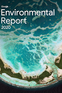 Cover of the latest Environmental Report featuring a Google Earth image of Tabuaeran, Kiribati, a low-lying island nation in the Pacific Ocean that is expected to become the first country submerged by sea level rise as a result of climate change.
