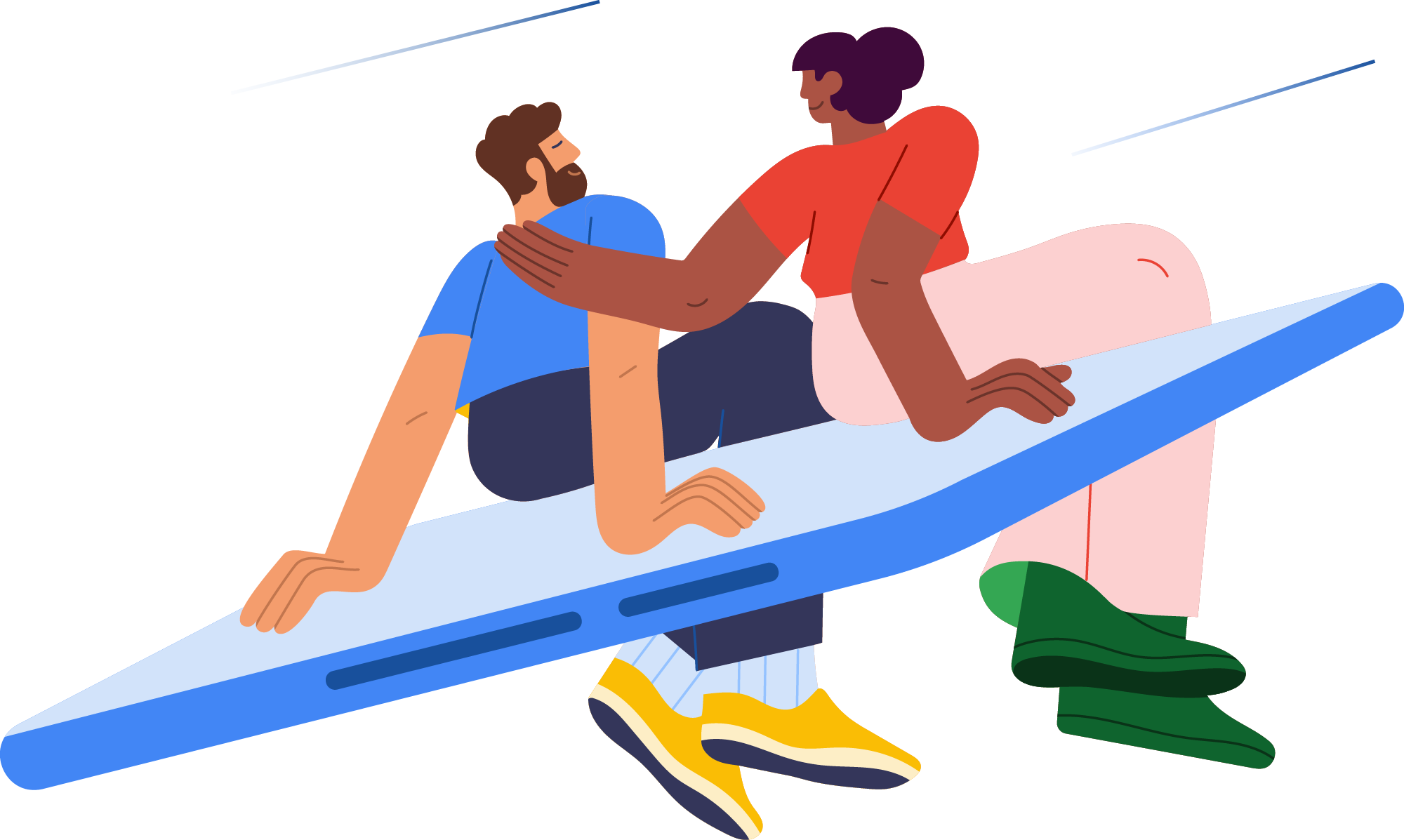 Two people sitting on a flying phone
