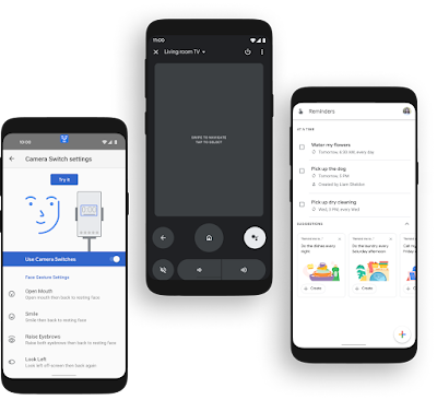 Three Android phones showing the UIs for Camera Switches, Google TV remote and Android Assistant reminder hub.
