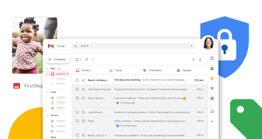 Gmail inbox screen with enlarged function icons arranged horizontally