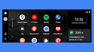 A widescreen car display showing all your apps on one side and upcoming directions via Google Maps on the other side.