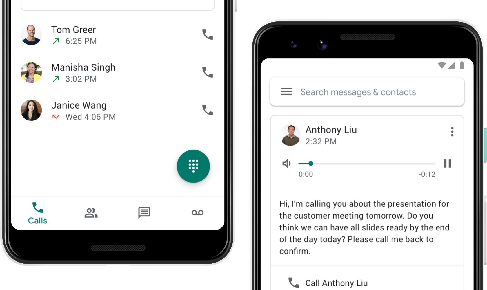 Image showing Google Voice's calls page and voicemail page.