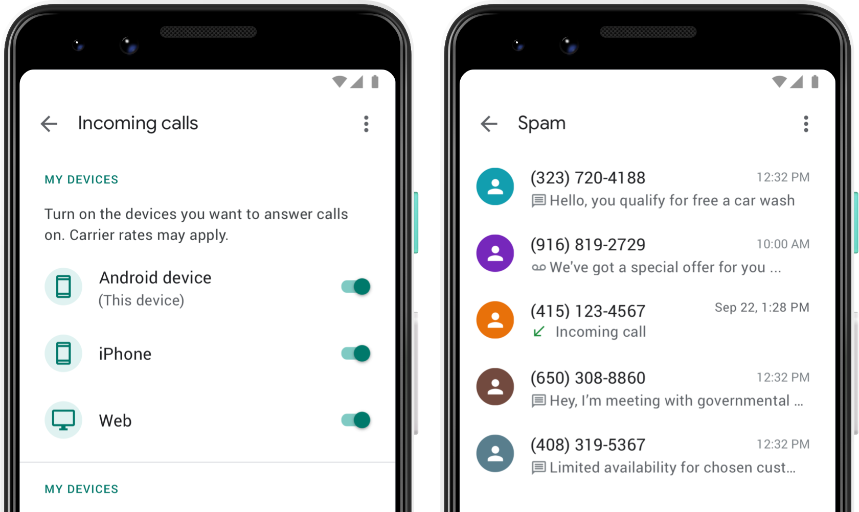Image showing Google Voice's spam page, showing a list of calls that were marked as spam